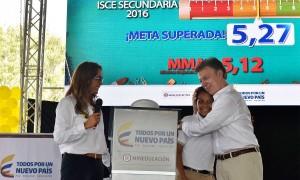 """Esto es una gran noticia para el país. Para mí es una de las mejores noticias que hemos tenido en los últimos tiempos"""", expresó este viernes en Barranquilla el Presidente, al entregar las cifras de calidad educativa al lado de la Ministra Gina Parody."""