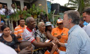 Recorrido del Presidente Juan Manuel Santos por Andagoya, Medio San Juan, Chocó, donde posesionó al nuevo Ministro de Ambiente y Desarrollo Sostenible, Luis Gilberto Murillo.