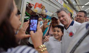 Cálido recibimiento este viernes al Presidente Juan Manuel Santos de parte de los habitantes de Sahagún, Córdoba.