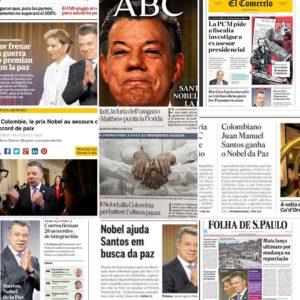El Premio Nobel de la Paz al Presidente Juan Manuel Santos recibe amplia difusión en la prensa mundial