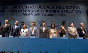 Los presidentes de las altas cortes de justicia y el Ministro de Justicia, Jorge Londoño, acompañan al Presidente Santos a la instalación del XXII Encuentro de la Jurisdicción de lo Contencioso Administrativo.