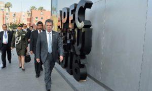 El Presidente de Colombia, Juan Manuel Santos, al llegar este sábado a la XXIV Cumbre del Foro de Cooperación Económica Asia-Pacífico (APEC), que se efectuó en la capital peruana.
