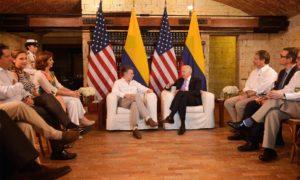 Reunión del Presidente Juan Manuel Santos y el Vicepresidente de Estados Unidos, Joe Biden, junto con sus delegaciones, este jueves en la Casa de Huéspedes Ilustres de Cartagena.