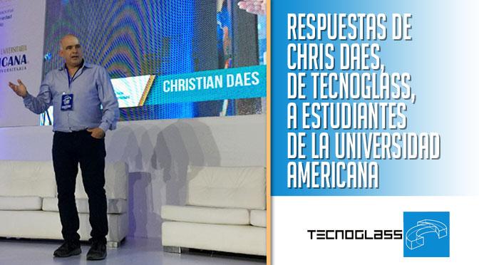 Respuestas de @ChrisDaes , de @TecnoglassSA , a estudiantes de la @coruniamericana